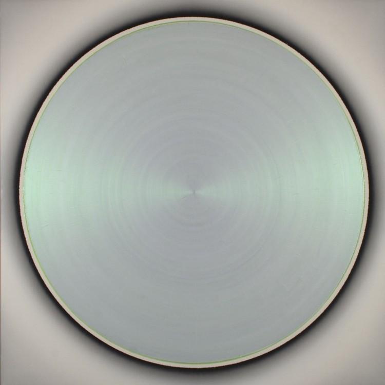 Art Alarm – Robert Schaberl, ZF light green dance with copper on soft silver grey, 2012, Acryl auf Leinwand, 160 x 160 cm