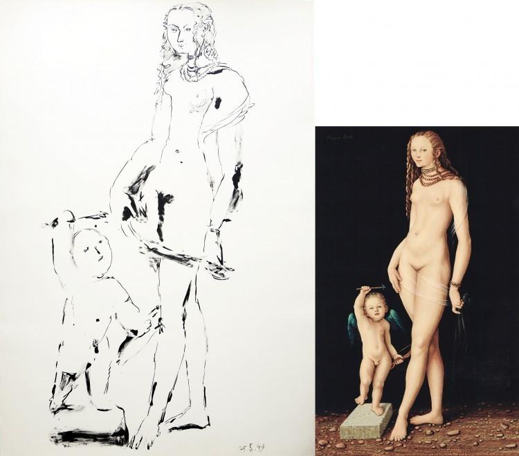 Art Alarm – Links: Pablo Picasso, Venus et l'Amour, 3. Variation, 1949, Lithographie, 76 x 38 cm. Rechts: Jan Peter Tripp, Venus und Amor, 2016, Acryl auf Papier/Holz, 34 x 22 cm