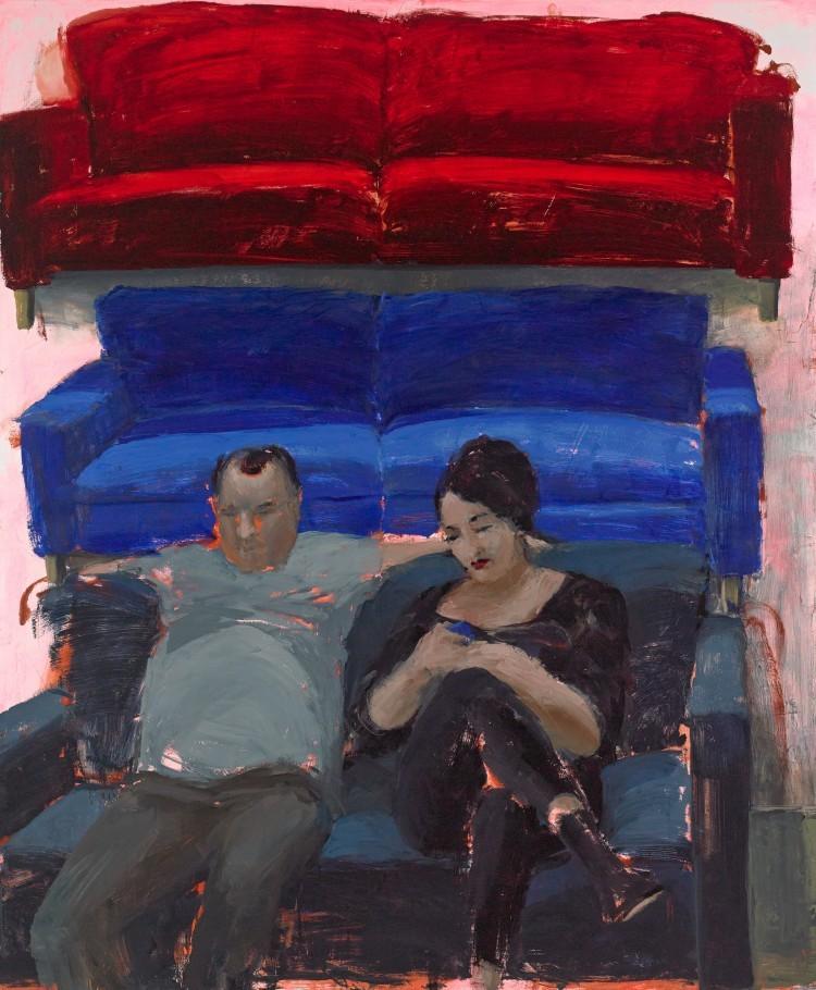 Art Alarm – Tirtzah Bassel, Ikea/Couple, 2014, Öl auf Leinwand, 152.5 x 183 cm