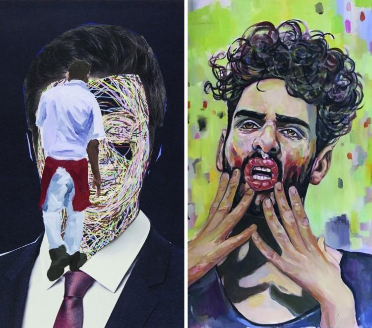 Art Alarm – Abb. li.: Ivan Zozulya, o.T., 2017 Abb. re.: Barbara Padron Hermandez, The Truth About My Clown, 2017