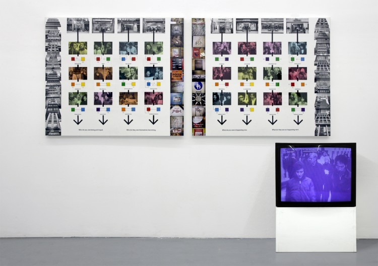 "Art Alarm – Stephen Willats: ""Just Between People"", 2006/07, two panel work with DVD film. Photographic prints, photographic dye, acrylic paint, ink, Letraset text on card, each panel 104 x 123 cm"
