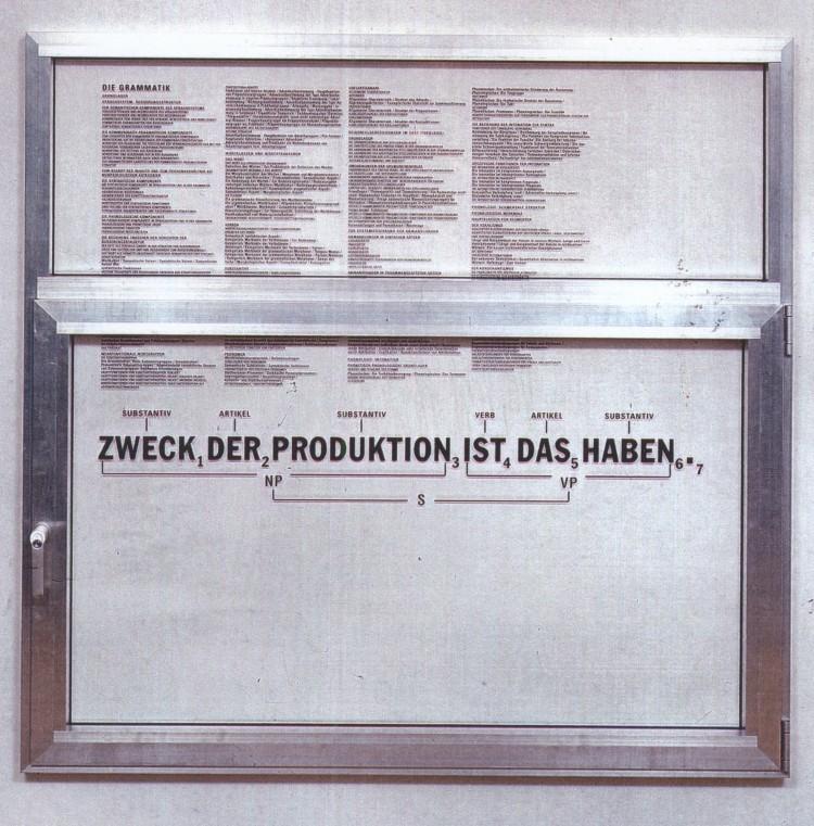 """Art Alarm – Thomas Locher: """"Fenster. Zweck der Produktion ist das Haben"""", 1997, aluminum frame, glas, silkscreen print, 140 x 140 x 12 cm"""