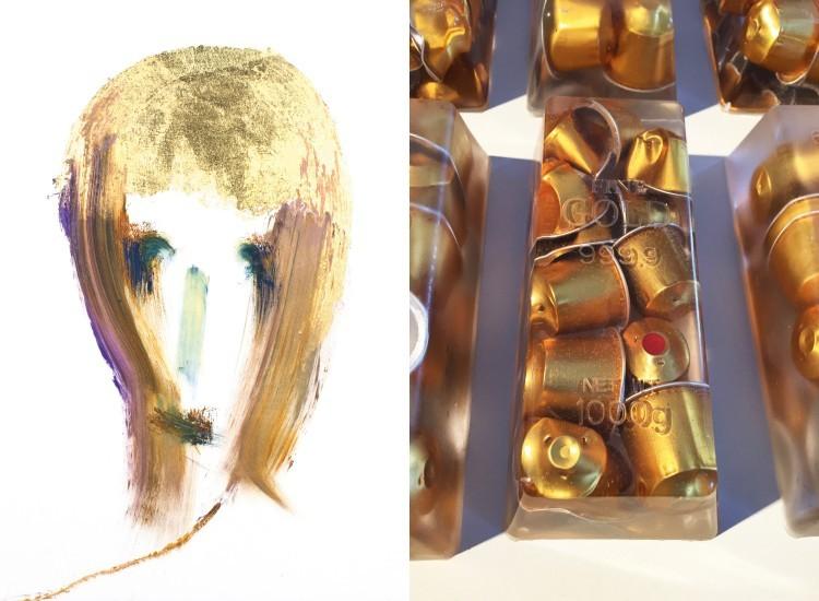 Art Alarm – Links: Jörg Länger, Gesicht (Goldstück), 2018, Ölfarbe, Mischtechnik und Blattgold (Schlagmetall), 38 x 38 cm. Rechts: Jan Kuck, Black Gold, 2015, Nespressokapseln, Gießharz, 17 x 8 x 5 cm