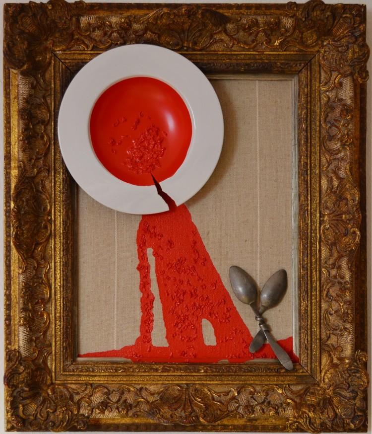 Art Alarm – Claude Stockinger, Abendrot, 2019, Objekt im Rahmen, ca. 65 × 76 cm