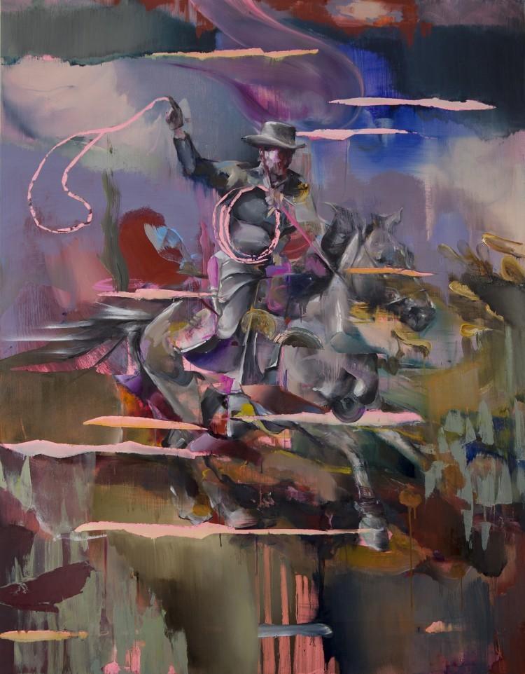 Art Alarm – JUSTINE OTTO, Lasso thrower, 2018, Öl auf Leinwand, 180 x 140 cm