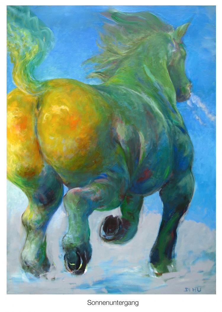 Art Alarm – Rudi Hurzlmeier, Sonnenuntergang, Öl auf Leinwand 180 x 120 cm