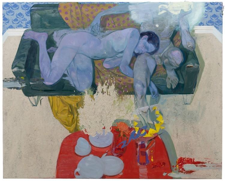 Art Alarm – Ruprecht von Kaufmann, Paar auf dem Sofa, 2019, Öl auf Linoleum auf Holz, 122 x 153 cm, Courtesy Galerie Thomas Fuchs, Foto: Stefan Maria Rother