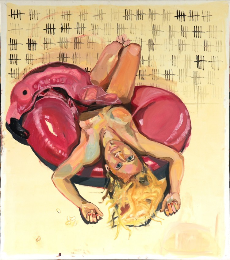 Art Alarm – Nina Raber-Urgessa, Flieg Flamingo flieg, 2019, Öl auf Leinwand, 170 x 150 cm