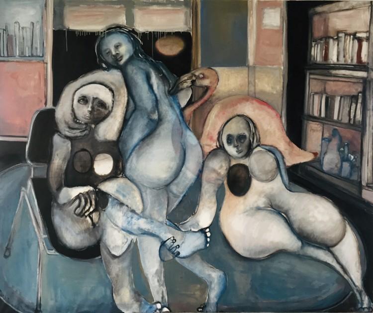 Art Alarm – Friederike Just, Drei mit Flamingo, 2019, Öl auf Leinwand, 160 x 170 cm