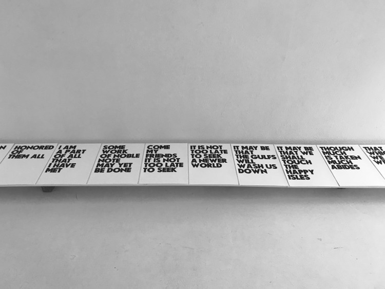 Art Alarm – Morgan O'Hara, ULYSSES by Alfred Lord Tennyson, 1833 / Morgan O'Hara, 2020, text on old mill 280 g, Carteria Fedroni, 49 x 34 cm, Ed. 15, courtesy Brigitte March ICA