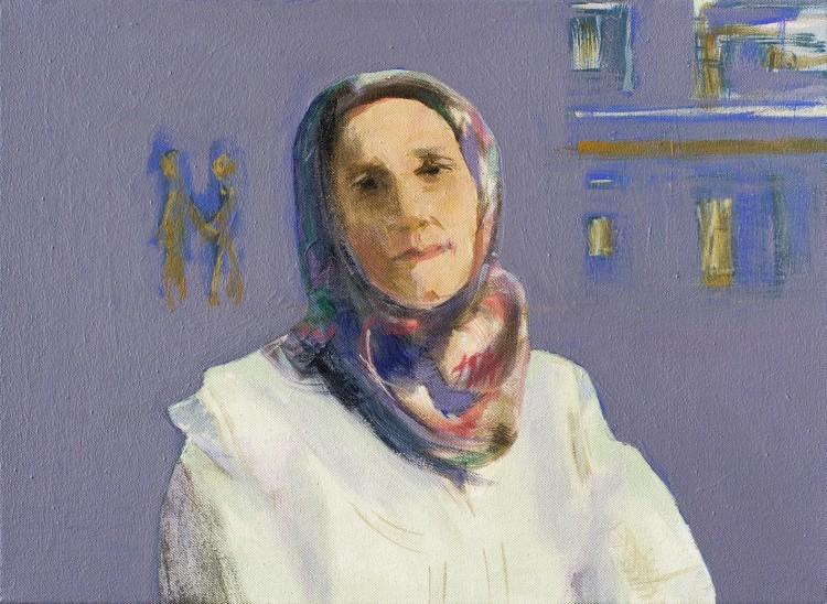 Art Alarm – Rina Böcher, Jasima aus Aleppo, 2020, Acryl auf Leinwand, 30 x 40