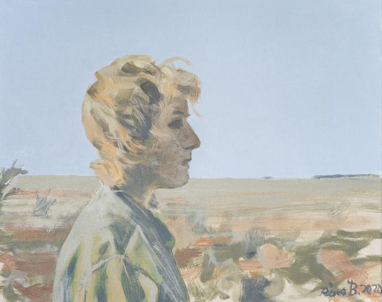 Art Alarm – Rina Böcher, Nonnie in Khaki, 2020, Acryl auf Leinwand, 40 x 50