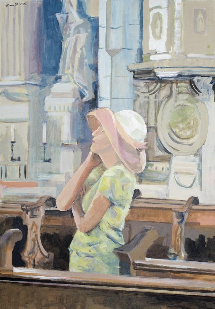 Art Alarm – Rina Böcher: In meiner Kirche, 2020, Acryl auf Leinwand, 100 × 70 cm