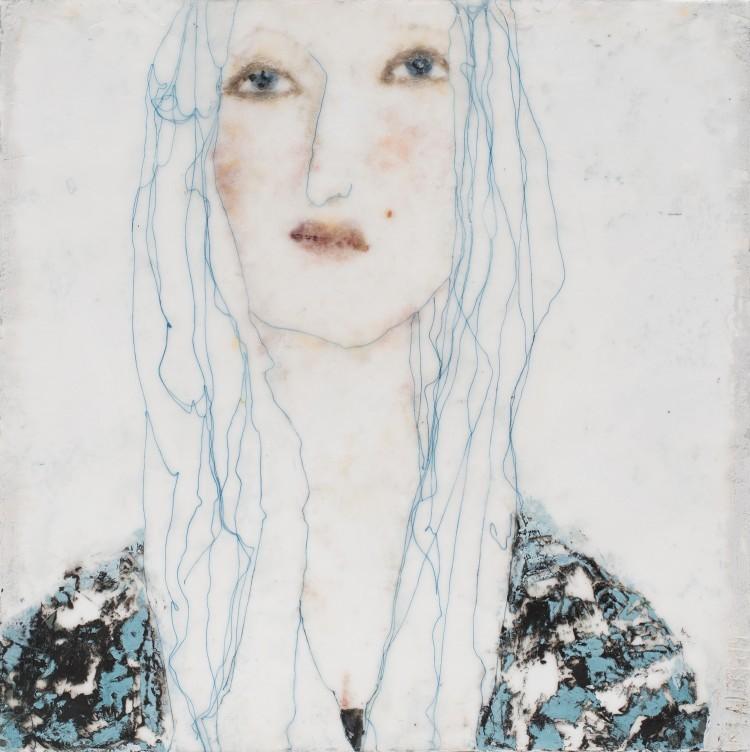Art Alarm – Marlis Albrecht: Fadenfrauen 32, 2021, Pigmente, Wachs, Faden, Holz, 50 × 50 × 4 cm