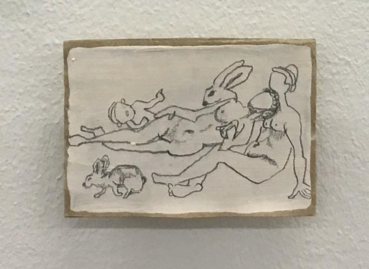 Art Alarm – Johanna Wittwer, Hasenakt, 2020, Graphit auf grundiertem Karton, 3,2 × 4,8 cm