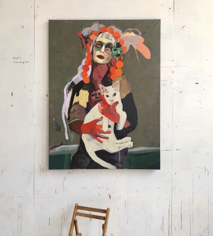 Art Alarm – Tschiegg, Portrait avec Andy, 2021, Acryl/Lwd, 130 × 97 cm